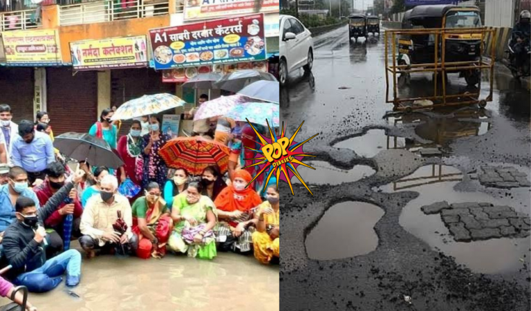 Kalyan: Residents protests against potholes, improper drainage system by sitting in rainy water