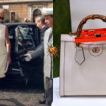Princess Diana with her Gucci tote bag