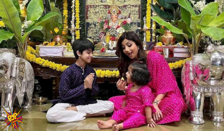 Shilpa Shetty Celebrates Ganesh Chaturthi Festival, as She Twins with her Daughter on the other side Feeds Son Viaan Laddoo