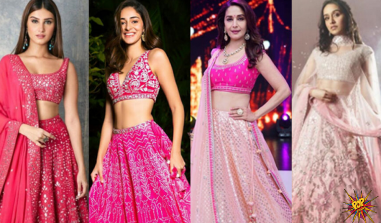 Are you Ready to step into Pink Environment?Tara Sutaria, Ananya Panday, Madhuri Dixit and Shraddha Kapoor are Here to Fascinate hearts with their Pretty looks in the Pink Lehengas