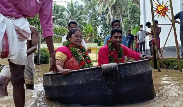 Viral image: Amid the rainfall in Kerala, The couple reached their Wedding Hall in cooking vessel; See pic!